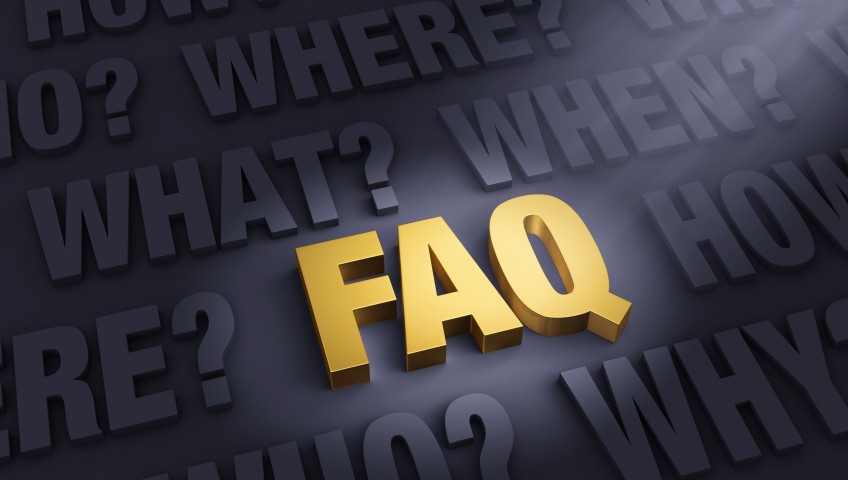 The letters FAQ