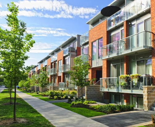 Row of new townhomes