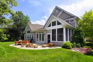 A grassy home backyard