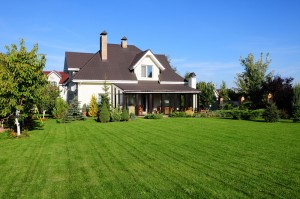 House with large green lawn