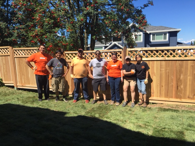 The team of volunteer from the Home Depot Foundation after a hard day's work and a job well done.